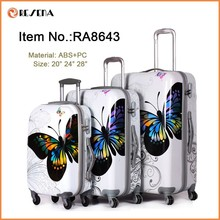 "Hard shell 3 piece 20""/24""/28"" size colourful travel trolley luggage bag"