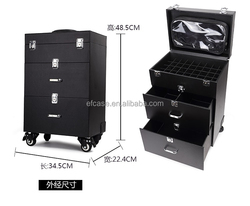 BLACK NAIL TOOL CASES WITH TROLLEY AND WHEELS
