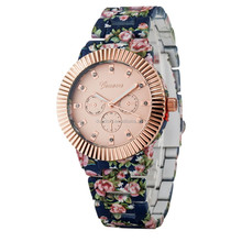 New Fashion Flower Printed Watch Stainless Steel Geneva Watches for Women Dress Watch With High Quality Big Discount Japan Movt