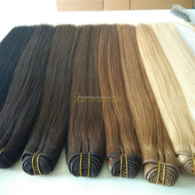 Top quality double drawn russian virgin hair with cuticle intact human hair weft with all kinds of colors