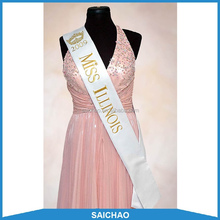 fashion satin printed pageant customize sash for celebration