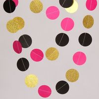 5 Feet Hanging Paper Decorations Hot Pink Black Golden Circle Garland
