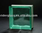Turquoise Cloudy Glass Block