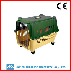 Oem cheap plastic dog cage with wheels