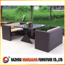 Aluminum Steel Outdoor Rattan Dining Table Chairs with Modern Design