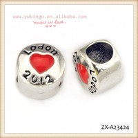 Fashion flat round silver beads, with London 2012 letter, a red heart-shaped pattern,african beads jewelry set ZX-A23424
