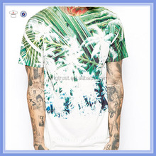 Soft jersey fabric crew neck color block sublimation palm tree print design to the front wholesale printed t shirts