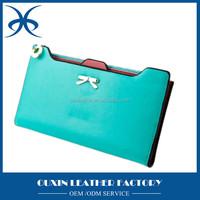 Women's wax top grain cow leather long clutch coin purse wallet with card bolder & zipper pocket manufacturer export price