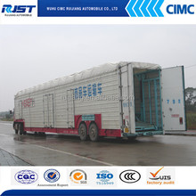 CIMC Tri- Axles Fenced Semi Trailer for Livestock / Cow / Cattle Transportation