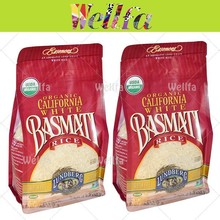 Rice Bags Design Flat Bottom Gusset Plastic Bags For Rice Packaging
