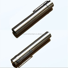 Mini Stainless steel LED torch lamp 1xCree XPE Q5 flashlight with pen clip (1xAAA/1x10440)