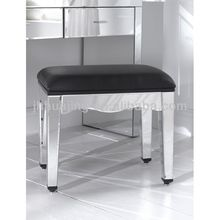 Europe French Style Mirrored Bedroom Furniture Dressing Table and Stool with Black PU Cusion/