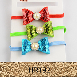 Lovely Baby Newborn Infant Headband,Red Bowknot Pretty Girls Pearl Hair Band Elastic