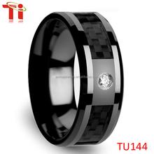 8mm Tungsten Men's 0.10 Ct CZ Black Carbon Fiber Wedding Band Ring Size 6-12