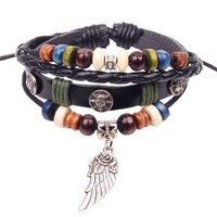 Fashion bracelets&bangles first layer of cow leather rivets wristband Take wing leather beaded bracelet NL013