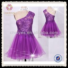 CY62641 hot sale light beading remarkable unique beautiful royal purple tutu dress chiffon short prom dress