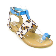 2015 top quality competitive price leopard print thong ankle strap flat girls fancy sandal