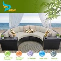 Half Round Attractive Design Indoor/Outdoor Plastic Rattan Garden Furniture Sofa set/ Metal Corner Sofa Set Designs