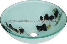 Orb basin glass waterfall faucet