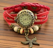 The restoration the ancient times The sea star women watch exquisite fashionable leather belt clockwise personality quartz watch