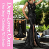 Dropship long prom dresses wholesale Black Sequin Split Front dress mermaid crystal