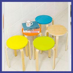 Practic indoor furniture wooden frame round top stool