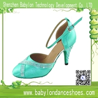 Top selling Professional Women Ballroom Latin Dance shoes with rhinestone closed toe
