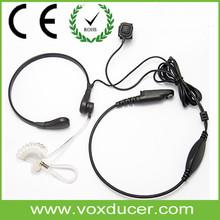 Two Way Radio Mic Throat Vibration Sensors Air Tube Headsets E1176