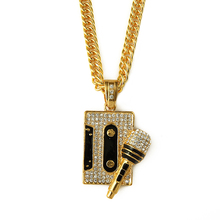 2015 new wholesale stock hiphop type long chain bling crystal iced out tape and microphone pendant necklace hip hop jewelry