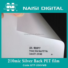 210mic eco solvent plastic white opaque pet film with silver back
