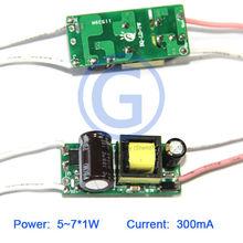 Corriente constante 7w del conductor del led 300ma 7*1w ca 220v dc 24v