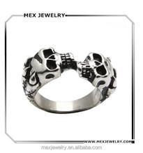 Men's 316l Stainless Steel 2 Skull Heads Kiss Rings Customize