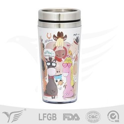 Best selling products stainless steel coffee mug, plastic travel mug with photo insert
