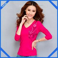 autumn long sleeve 100 cotton t shirt plain color for women
