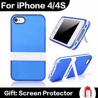 Wholesale Fashion Multi Colors Soft TPU PC Kickstand Protective Phone Case For iPhone 4 4S