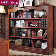 European classical wood bookshelf with handmade carving for storage in study roomAI-211