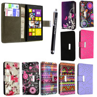 FOR NOKIA LUMIA 1020 PU LEATHER WALLET BOOK FLIP CASE COVER +STYLUS