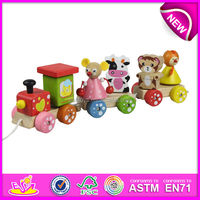 2015 New wooden pull toy along Train for kids,wooden pull toy for children,moving train toy for baby,mini out door toy W05B055