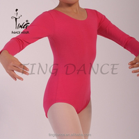 2015 new red cotton long sleeve sexy gymnastic leotard for girls
