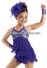 Vestido latino emocionante de la danza de la muchacha de los niños de la franja de Biketard