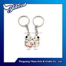 Factory wholesale metal key chain in animal lovers shape for lovers souvenir key holder