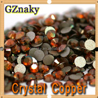 Crystal Copper ss20(4.6-4.8mm) non hotfix rhinestones flatback round crystal glass beads cell phone case Nail art loose beads