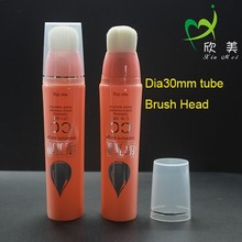 New design make up foundation oval tube packaging with rotating brush head