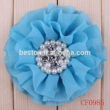 Boutique baby girls wholesale chiffon flower headband, shabby fabric flower headband