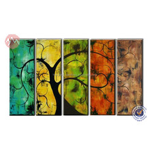 Colorful tree art decor canvas painting 5 panel wall art