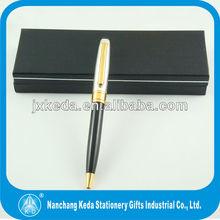 2014 Wholesale high quality classical metal twist ballpoint pen Black Pen Body With silver cap pen