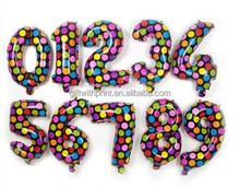 Birthday Number Foil Balloons 1 to 0 Birthday Metallic Balloon 35cm 14inch Dot Pattern