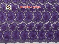 High quality bead embroidery designs curtain organza double fabric OL10004 purple