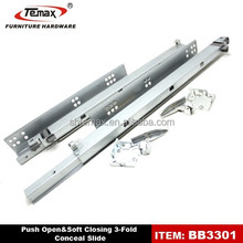 Factory Price Temax BB3301 3 Fold Push Open Soft Closing sliding for Kitchen Drawer