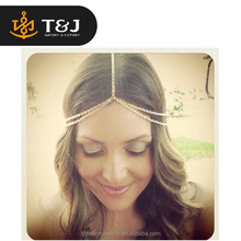 2015 New Fashion indian Gold plated Head Chain Pieces Women Boho Headband Chain Jewelry indian hair accessories